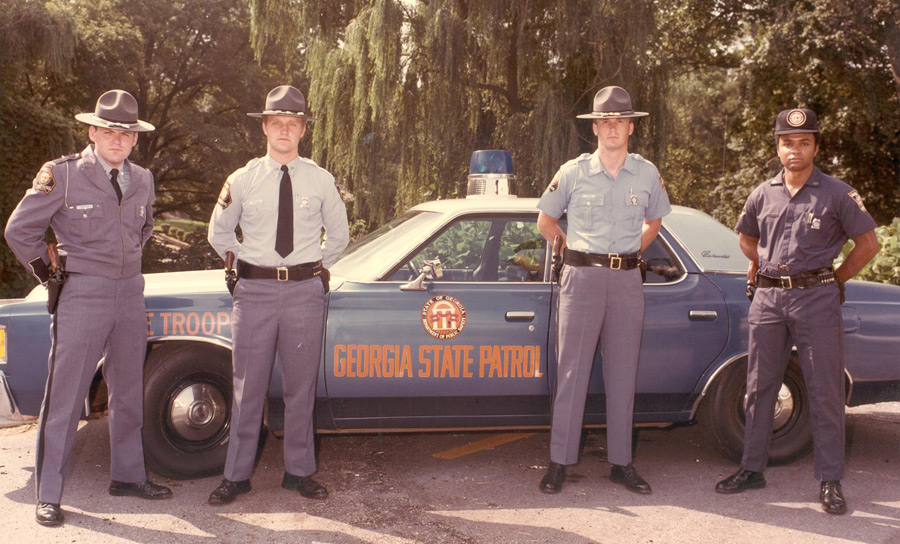 Georgia state police officers and car