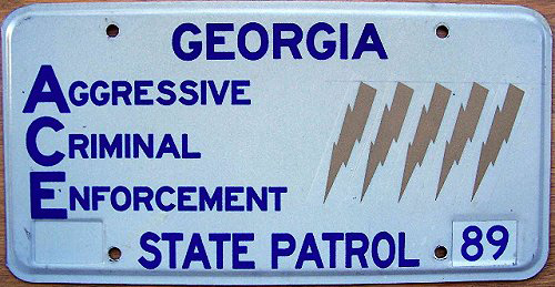 Georgia state police license plate