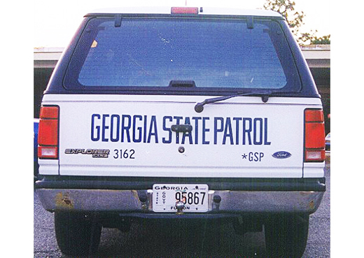 Georgia state police license plate on car