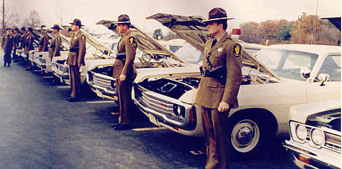 Illinois state police cars and officers