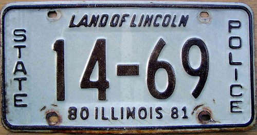 Illinois state police license plate