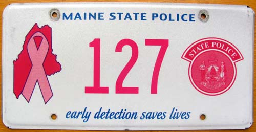 Maine cancer awareness police plate