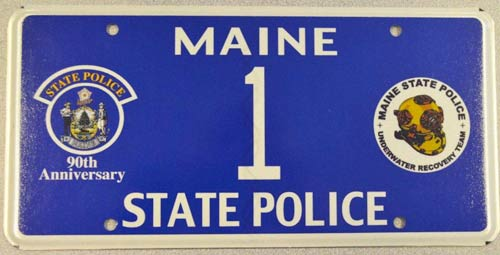 Maine police plate image