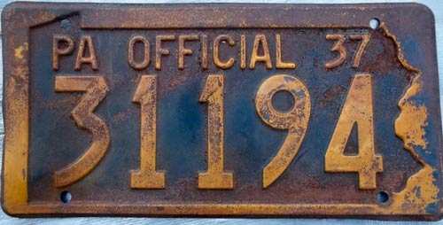 Pennsylvania  police license plate image