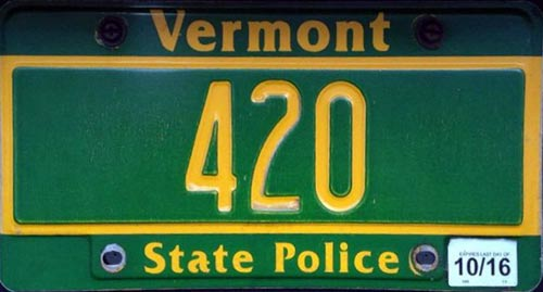 Vermont  police license plate image