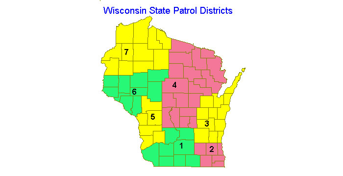Wisconsin state patrol district map